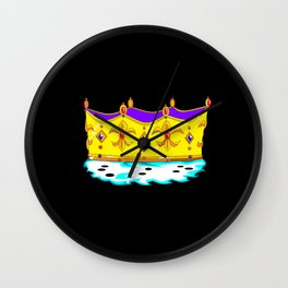 A Royal Gold Crown with Black Background Wall Clock