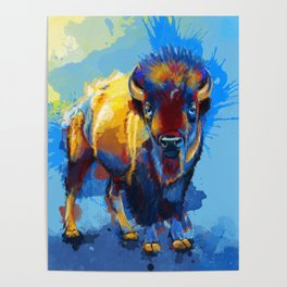 On the Plains - Bison painting Poster