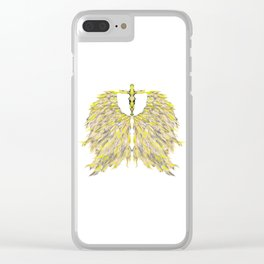 Cross with Angel wings Clear iPhone Case