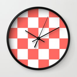 Large Checkered - White and Pastel Red Wall Clock