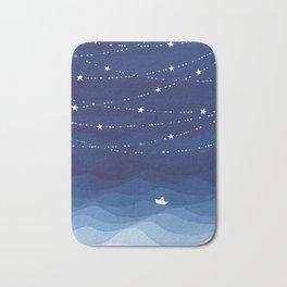Garland of Stars IV, night sky Bath Mat