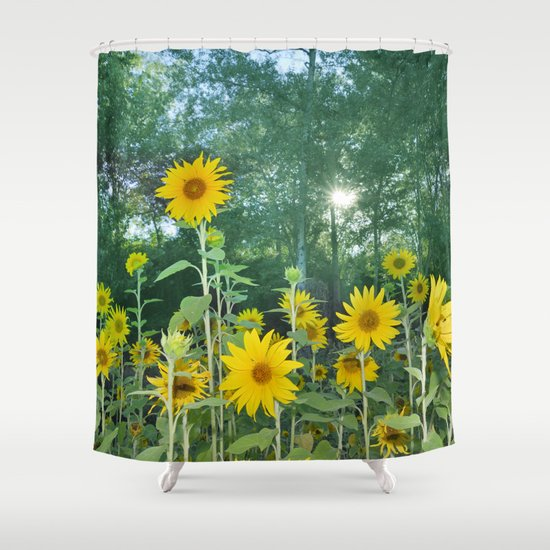 Sunflowers In The Forest Shower Curtain By Guido Montanes
