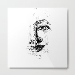 Doodle Face 10 by Kathy Morton Stanion Metal Print