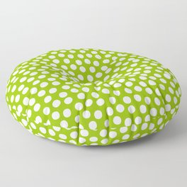 White Polka Dots on Fresh Spring Green - Mix & Match with Simplicty of life Floor Pillow