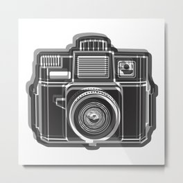 I Still Shoot Film Holga Logo - Black and White Metal Print