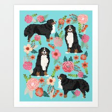 Bernese Mountain Dog pet portrait dog art illustration fur baby dog breed floral gift for dog lover  Art Print