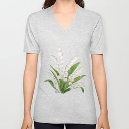 white lily of valley Unisex V-Neck