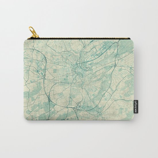 Luxembourg Map Blue Vintage Carry-All Pouch