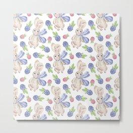 Watercolor Bunny Berries Pattern Metal Print