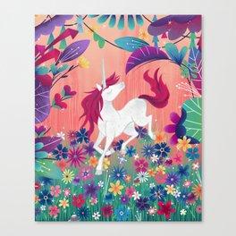 Floral Frolic Unicorn Canvas Print