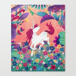 Floral Frolic Unicorn Canvas Print