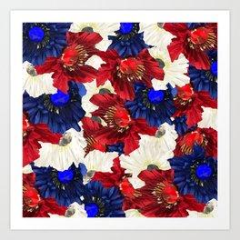 Red White Blue Floral Gems Art Print