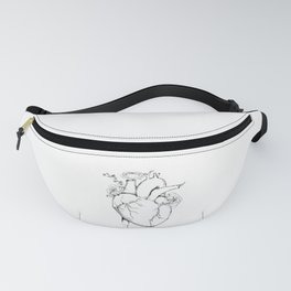 Black and White Anatomical Heart Fanny Pack