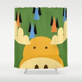 Dark Green Moose Shower Curtain