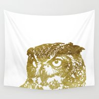 gold foil Wall Tapestries featuring Faux Gold Foil Owl by Stacie Clarke