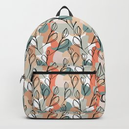 Black leaves and pastel background pattern Backpack