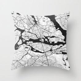 Stockholm Map Gray Throw Pillow