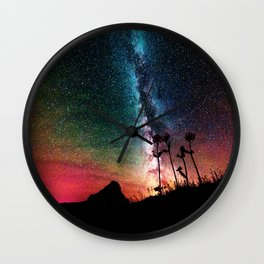 Colorful Milky Way Landscape Wall Clock