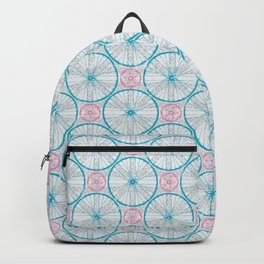 Bicycle Wheels Cycling Pattern - Grey Blue Pink Backpack