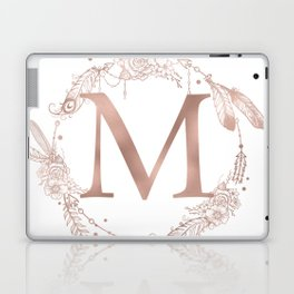 Letter M Rose Gold Pink Initial Monogram Laptop & iPad Skin