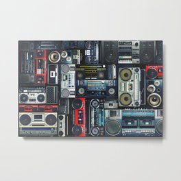 Pattern of retro old hipster music audio tape recorders from the 70s, 80s, 90s, 2000s, background. Metal Print