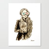 luna lovegood Canvas Prints featuring Luna Lovegood by Justine Lecouffe