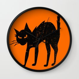 Vintage Halloween Scary Black Cat Wall Clock