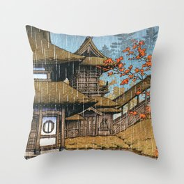 Selection Of Views Of The Japan, Mountain Temple, Sendai - Digital Remastered Edition Throw Pillow