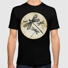 Dragonflies on tan texture Black Mens Fitted Tee MEDIUM