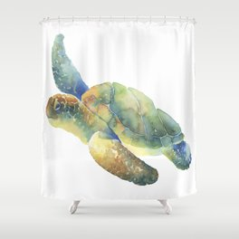 Sea Turtle Watercolor Shower Curtain
