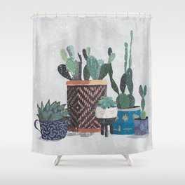 Cactus and succulents garden Shower Curtain