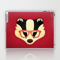 Hipster Badger: Red Laptop & iPad Skin