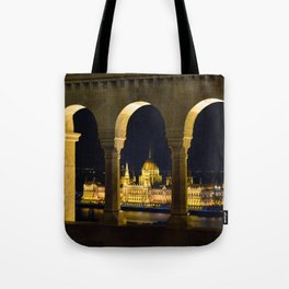 Hungarian Parliament through Fishermans bastion Tote Bag