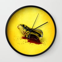 kill bill Wall Clocks featuring KILL BILL onitsuka special by wrong planet