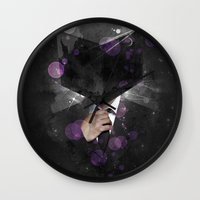 paramore Wall Clocks featuring Cube Head by Sitchko Igor