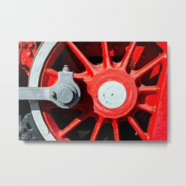 Grunge Red Wheel And White Driving Rod Of A Vintage Steam Engine Locomotive Metal Print