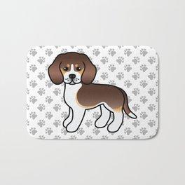 Cute Chocolate Tricolor Beagle Dog Cartoon Illustration Bath Mat