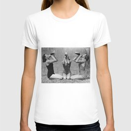 What the girls drink when the guys aren't looking - three girlfriends drinking at the beach black and white photograph T-shirt