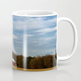 Rural Farmhouse Landscape Photograph Red Barn in Golden Field Coffee Mug