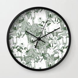 just goats dark green Wall Clock
