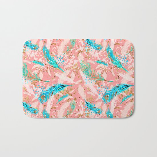Feather peacock peach mint #10 Bath Mat