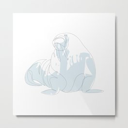 one line walrus Metal Print
