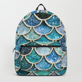 Multicolor Aqua Mermaid Scales - Beautiful Abstract Glitter Pattern Backpack