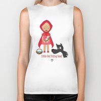 red riding hood Biker Tanks featuring Little Red Riding hood by MyimagesArt