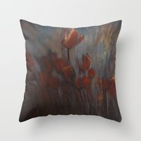 tulips Throw Pillows featuring tulips by Maria Enache