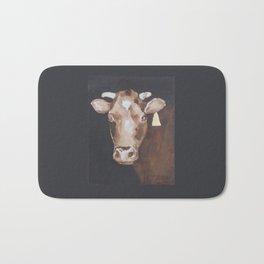 Gold Earring - Cow portrait Bath Mat
