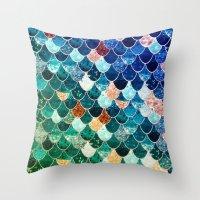 tiffany Throw Pillows featuring REALLY MERMAID TIFFANY by Monika Strigel