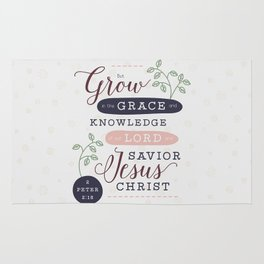 """Grow in Grace"" Bible Verse Print Rug"