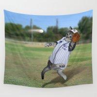 baseball Wall Tapestries featuring Baseball Catcher Kitten by Gravityx9