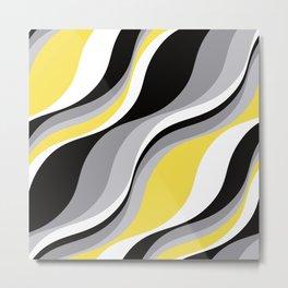 Abstract Waves - Yellow and Black Metal Print